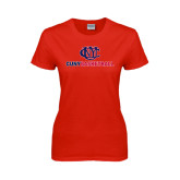 CUNY Athletics Ladies Red T Shirt-CUNY Basketball