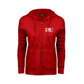 CUNY Athletics ENZA Ladies Red Fleece Full Zip Hoodie-Official Logo
