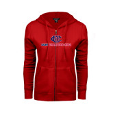 CUNY Athletics ENZA Ladies Red Fleece Full Zip Hoodie-CUNY Championships