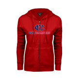 CUNY Athletics ENZA Ladies Red Fleece Full Zip Hoodie-CUNY Champions