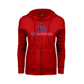CUNY Athletics ENZA Ladies Red Fleece Full Zip Hoodie-CUNY Basketball
