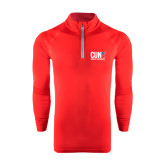 CUNY Athletics Under Armour Red Tech 1/4 Zip Performance Shirt-Official Logo