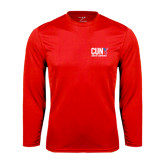 CUNY Athletics Performance Red Longsleeve Shirt-Official Logo