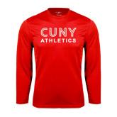 CUNY Athletics Performance Red Longsleeve Shirt-CUNY Athletics