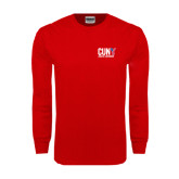 CUNY Athletics Red Long Sleeve T Shirt-Official Logo