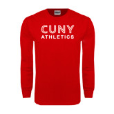 CUNY Athletics Red Long Sleeve T Shirt-CUNY Athletics