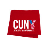 CUNY Athletics Red Sweatshirt Blanket-Official Logo