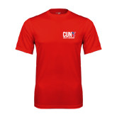 CUNY Athletics Performance Red Tee-Official Logo