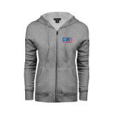 CUNY Athletics ENZA Ladies Grey Fleece Full Zip Hoodie-Official Logo