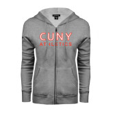 CUNY Athletics ENZA Ladies Grey Fleece Full Zip Hoodie-CUNY Athletics