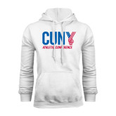 CUNY Athletics White Fleece Hoodie-Official Logo