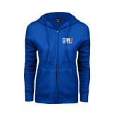 CUNY Athletics ENZA Ladies Royal Fleece Full Zip Hoodie-Official Logo