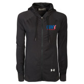 CUNY Athletics Ladies Under Armour Black Varsity Full Zip Hoodie-Official Logo