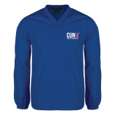 CUNY Athletics V Neck Royal Raglan Windshirt-Official Logo