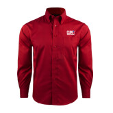 CUNY Athletics Red House Red Long Sleeve Shirt-Official Logo