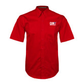 CUNY Athletics Red Twill Button Down Short Sleeve-Official Logo
