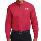 CUNY Athletics Red Twill Button Down Long Sleeve-Official Logo