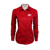 CUNY Athletics Ladies Red Twill Button Down Long Sleeve-Official Logo