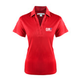 CUNY Athletics Ladies Red Performance Fine Jacquard Polo-Official Logo