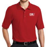 CUNY Athletics Red Easycare Pique Polo-Official Logo