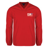CUNY Athletics V Neck Red Raglan Windshirt-Official Logo