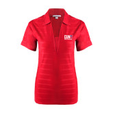 CUNY Athletics Ladies Red Horizontal Textured Polo-Official Logo