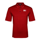 CUNY Athletics Red Performance Fine Jacquard Polo-Official Logo