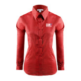 CUNY Athletics Ladies Red House Red Long Sleeve Shirt-Official Logo