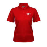 CUNY Athletics Ladies Red Dry Mesh Polo-Official Logo