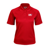 CUNY Athletics Ladies Red Textured Saddle Shoulder Polo-Official Logo
