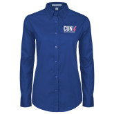 CUNY Athletics Ladies Royal Twill Button Down Long Sleeve-Official Logo