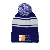 CUNY Athletics Royal/White Two Tone Knit Pom Beanie w/Cuff-Official Logo
