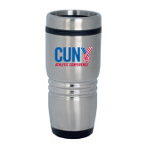 CUNY Athletics Rolling Ridges Silver Stainless Tumbler 16oz-Official Logo