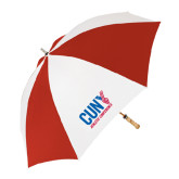 CUNY Athletics 62 Inch Red/White Vented Umbrella-Official Logo