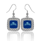 College Crystal Studded Square Pendant Silver Dangle Earrings-Baruch Arched