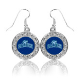 College Crystal Studded Round Pendant Silver Dangle Earrings-Baruch Arched