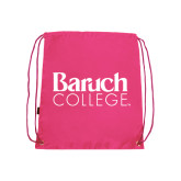College Pink Drawstring Backpack-Official Logo