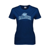 Ladies Navy T Shirt-Baruch Arched