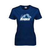 Ladies Navy T Shirt-Baruch Athletics