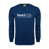 Navy Long Sleeve T Shirt-School of Public Affairs Stacked