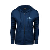 College ENZA Ladies Navy Fleece Full Zip Hoodie-Baruch Arched