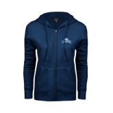 ENZA Ladies Navy Fleece Full Zip Hoodie-Baruch Arched