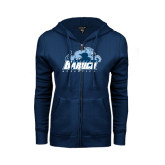College ENZA Ladies Navy Fleece Full Zip Hoodie-Baruch Athletics