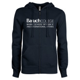 College ENZA Ladies Navy Fleece Full Zip Hoodie-School of Public Affairs