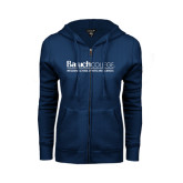 College ENZA Ladies Navy Fleece Full Zip Hoodie-Weissman School of Arts