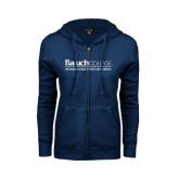 ENZA Ladies Navy Fleece Full Zip Hoodie-Weissman School of Arts