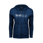 College ENZA Ladies Navy Fleece Full Zip Hoodie-Zicklin School of Business