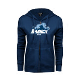 College ENZA Ladies Navy Fleece Full Zip Hoodie-Mom