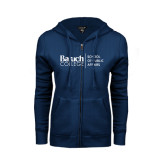 College ENZA Ladies Navy Fleece Full Zip Hoodie-School of Public Affairs Stacked