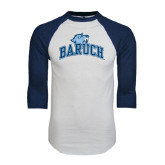 White/Navy Raglan Baseball T-Shirt-Baruch Arched